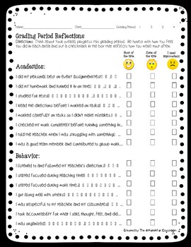 Grading Period Reflection Form