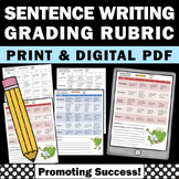 Writing Rubric, Sentences - Capitalization, Punctuation, Structure and Grammar