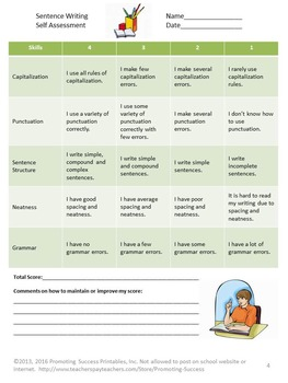 sentence writing rubric for second grade