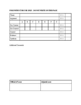 Grading Rubric and Feedback Sheet for APUSH DBQ 2017-18