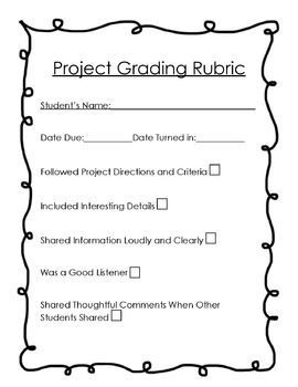 Grading Rubric for Projects (K-3)