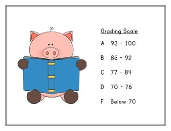 Grading Scale - Pig Theme