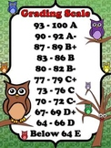 Grading Scale Poster - 10-Point (Modified) - Owl Theme - King Virtue