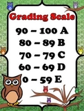Grading Scale Poster - 10-Point - Owl Theme - King Virtue