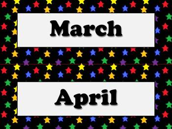 Months of the Year Calendar Strips - Superstars Theme - King Virtue