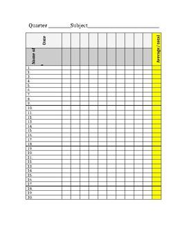 Grading sheet for grading binder