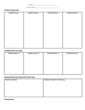 Gradual Release of Responsibility (GRR) Lesson Planning Template 1