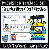 Graduation Certificates Fifth Grade Monster Themed Set
