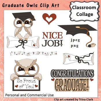 Graduate Owls Clip Art - Color - pers & commercial use