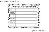 Graduate Student Lesson Observation Form