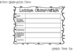 Graduate Student Lesson Observation Form