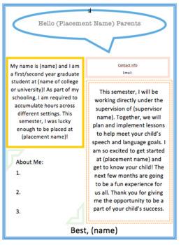 Graduate Student Student Teacher Hello Parents Letter