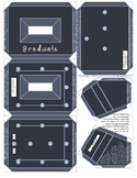 Graduate chalk fabric font chalkboard looking frame badge