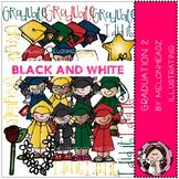 Graduation clip art Part 2 - BLACK AND WHITE- by Melonheadz