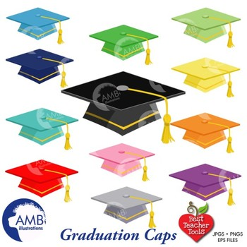 Graduation Caps Clipart, Multicolored Caps {Best teacher Tools} AMB-882