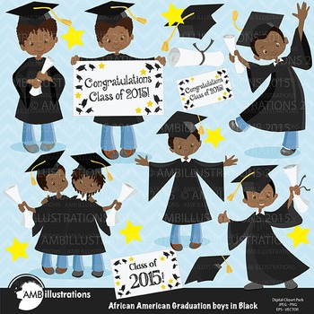 Graduation Clipart, African American Boys Clipart, Black Gowns Clipart, AMB-884