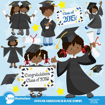 Graduation Clipart, African American Girls Clipart,Black Gowns Clipart, AMB-883