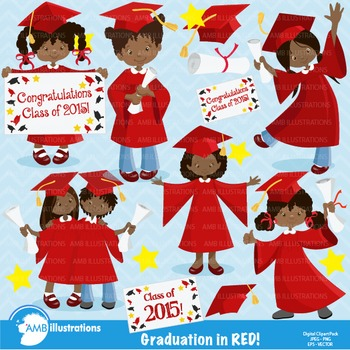 Graduation African American Girls in red gowns Clipart, AMB-878