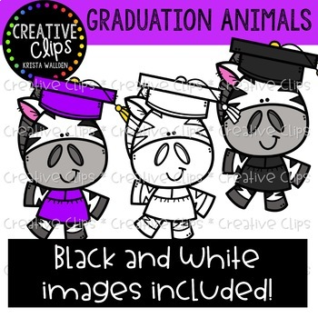 Graduation Animal Clipart {Creative Clips Clipart}