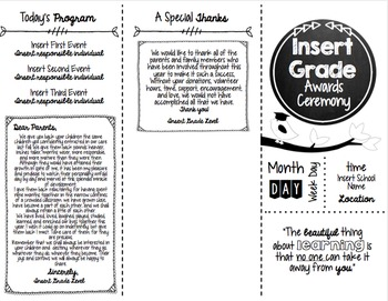 Graduation/Award Ceremony EDITABLE Invitations, Program, & Awards