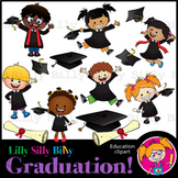 Graduation! - B/W & Color clipart, illustration {Lilly Sil