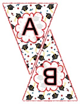 Graduation Banner / Pennant Set - Entire Alphabet & Numbers - Write any Message