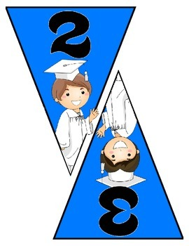 Graduation Banner Pennant Set Write your own message - Entire Alphabet & Numbers