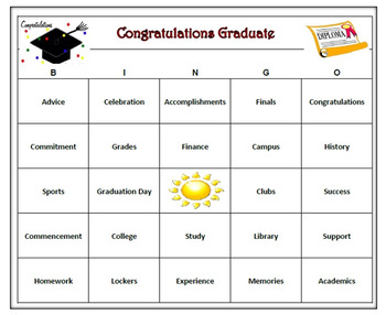 Graduation Bingo Game -60 Unique Cards, Printable
