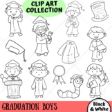 Graduation Boys Clip Art Collection (BLACK AND WHITE ONLY)