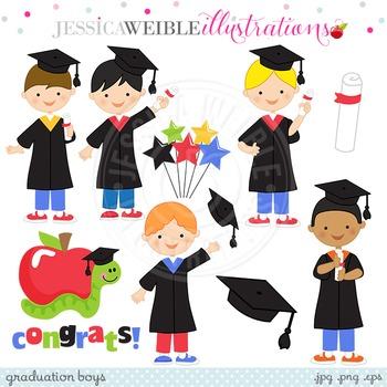 Graduation Boys Cute Digital Clipart, Boys Graduating Clip Art