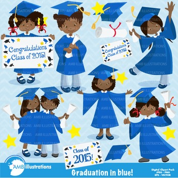 Graduation African American in Blue Clipart, Graduation clipart AMB-872