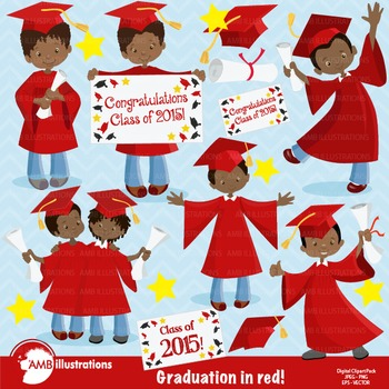 Graduation Boys and Girls in Black Clipart, Graduation clipart AMB-879