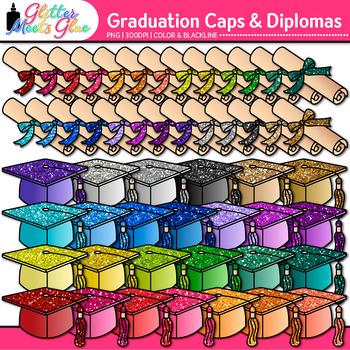 Graduation Clip Art | Cap and Diplomas for End of Year & Digital Scrapbooking