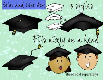Graduation Caps Clipart Color and Line art - 6 piece set