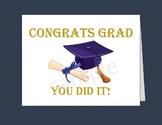 "Graduation Card / Printable Graduation Cards/5""x7"" card/4.25""x5.5""cards/Blue cap"