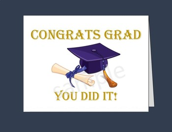 image relating to Printable Grad Cards referred to as Commencement Card / Printable Commencement Playing cards/5\