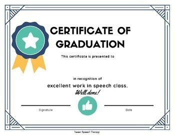 Speech Therapy Graduation Certificate & Discharge Planning Packet