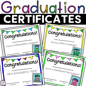 Graduation Certificates by The Blooming Mind | Teachers Pay Teachers