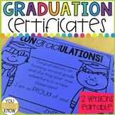 Graduation Certificates EDITABLE for Any Grade Level
