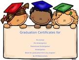 Graduation Certificates For Pre-Sch, Pre-K, TK, Kindergart