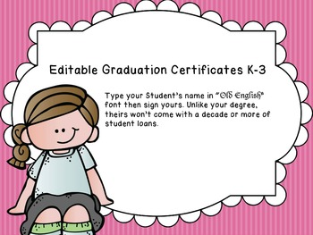 Graduation Certificates K-3 and Special Education