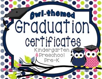 Graduation Certificates Owl Theme