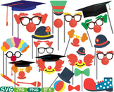 Graduation Circus Photo Booth Props clip art school college grad party svg -229S