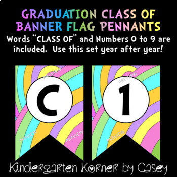 Graduation Class of 2019 Flag Pennant Banner Letters Numbers for ANY YEAR!
