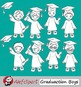 Graduation Clip Art Boys { Graduates clipart - color and blacklines included! }