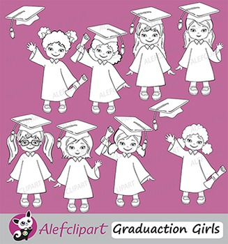 Graduation Clip Art Girls { Graduates clipart - color and blacklines included! }