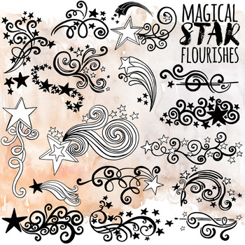 Graduation ClipArt, Star Flourish Graphics, Formal Dance and Yearbook Decoration