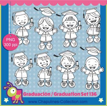 Graduation Clipart, Black and white, kids, school clipart, Set 136
