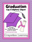 Graduation Clipart - Caps and Diplomas - Commerical Use
