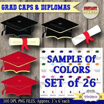 Graduation Clipart, Digital Clip art cap, diploma, PU / CU- SET of 26